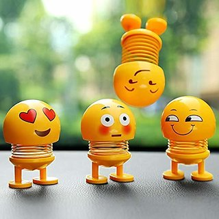 Lazywindow Pack of 3 Smiley Spring Dolls, Cute Emoji Bobble Head Funny Car Dashboard Toys
