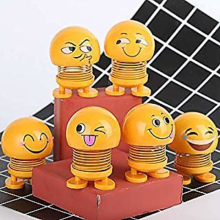 Lazywindow Pack of 5 Smiley Spring Dolls, Cute Emoji Bobble Head Funny Car Dashboard Toys