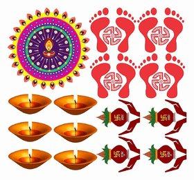 Decor Villa Happy Diwali Combo Wall Sticker  Decal  (PVC Vinyl,Size- 58 cm x 53 cm)