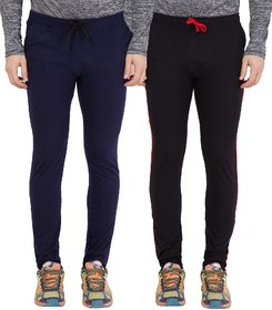 Haoser Men's Slim fit Cotton Navy Blue and Black Spots Track pants