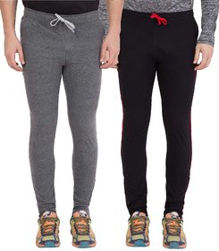 Haoser Slim fit Combo Pack of 2 Sports Track pants, Dark Grey and Back Lower for men's