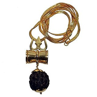Trishul Damru Locket Pendent Shiv Shakti Kawach Yantra Locket With Gold Plated Chain Diwali Gifts