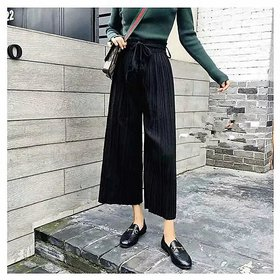 Women's / Girl's Black Color Pom Pom Palazzo  Wide Leg Pants