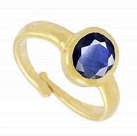 KUNDLI GEMS- Blue Sapphire Stone 5.45 Ratti Effective And Good Quality  Gemstone Copper Ring Adjustable Ring For Unisex