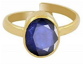 KUNDLI GEMS-Blue Sapphire Neelam 4.8cts or 5.25ratti Stone Gold Plated Adjustable Ring for Men