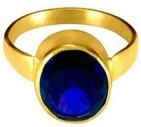 KUNDLI GEMS- Original & Lab Certified Stone Blue Spphire Neelam Stone Gold Plated Ring For astrological Purpose