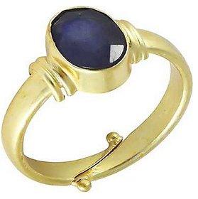 KUNDLI GEMS- Unheated & Untreated Stone Blue Sapphire/Neelam Gold Plated Ring 5.25 Ratti Precious Stone Neelam Ring.