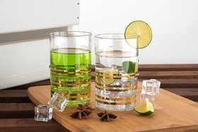Gold Printed Glass Set Unbreakable Stylish Transparent Glass Set (250 ml,Pack of 6)