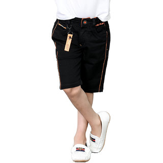Tadpole Boy's Cotton Black Solid Shorts