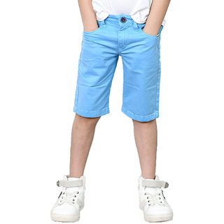 Tadpole Boy's Cotton Blue Solid Shorts