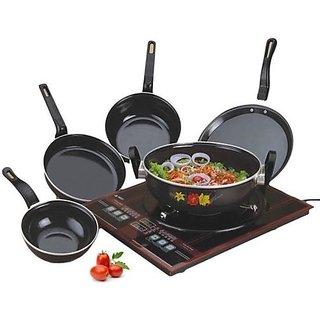 Mappon Set of 5 Non Stick Combo (Kadhai, Fry PAN, Sauce PAN, Dosha Tawa, Tadka PAN)