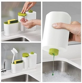 3 in 1 Kitchen Sink Stand with Liquid Soap Dispenser, Dishwasher Liquid, Brush, Sponge  Soap Holder Sink Tidy Set