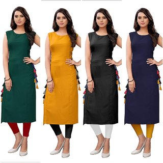 Aiza Collection Pack Of 4 Multicolor Plain Stitched Crepe Sleeveless Kurta