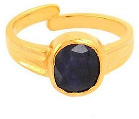 Certified Blue Sapphire Neelam 5.25 Carat or 5.84 ratti Panchdhatu Gold Plating Astrological Ring for Men & Women