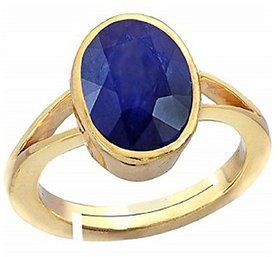 Certified 5.5 Carat A1Quality Natural Blue Sapphire Neelam Gold Plated adjustable Gemstone Ring for Women & men