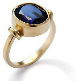 Certified Blue Sapphire Neelam 5.25 Carat or 5.84 ratti Panchdhatu Gold Plating Astrological Ring for Unisex