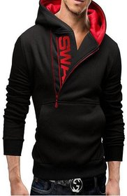 modestella mens full sleeve hooded with print red  black sweatshirt jacket