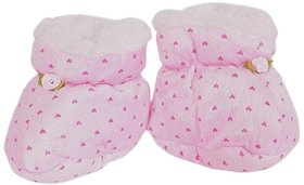 OSM ENTERPRISES Soft  Comfortable Baby Booties warm/Fleece/Fur/Socks Cum Shoes/Slippers Pink Cartoon Design