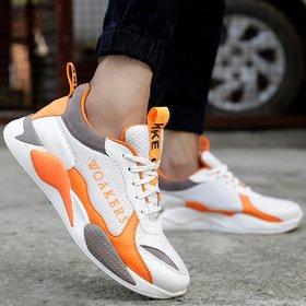 Woakers Men's Orange Sneakers
