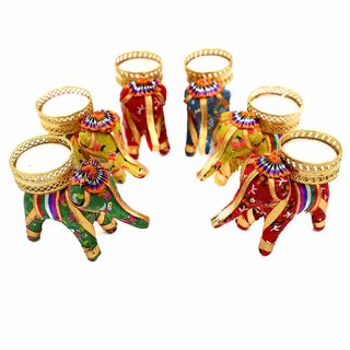 AVN Elite Elephant T Lights Holder Candle Stand for Home Decor/Diwali Set of 6