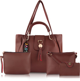 Threadstone Women's Latest PU Leather Handbag Combo Ckadi Brown -4