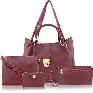 Threadstone Women's Latest PU Leather Handbag Combo  SAMOSHA Maroon-4