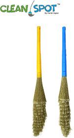 Harshpet Multipurpose No Dust Broom Set of 2 (Yellow,Blue)