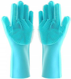 Silicone Dish Washing Gloves, Silicon Cleaning Gloves, Silicon Hand Gloves for Kitchen Dishwashing and Pet Grooming, Great for Washing Dish, Kitchen, Car, Bathroom (1 Pair)