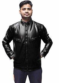Alpha Faux Men Black Slim Fit Leather Jacket