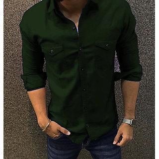 Fashlook Green Double Pocket Slim Fit Shirt For Men