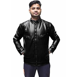 Alpha Faux Men Black Slim Fit Leather Jacket