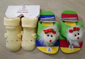 OSM ENTERPRISES Baby Slippers+Baby Boy Girls Kids socks- Pack of 5- (12-24 Months)- Stripes and set-2