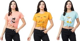 ELFLADY Printed Women Round Neck Pink, Yellow, Light Blue T-Shirt  (Pack of 3)