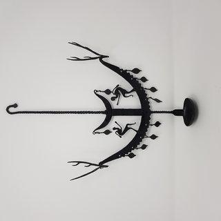 Hand Crafted, Wrought Iron, Decorative Wall Hanging Lamp Laman Diya