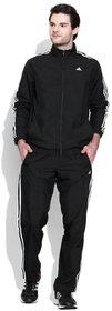 Adidas Black Polyester Essentials Zipper Tracksuit