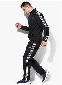 Adidas Men Black Polyester Essentials Zipper Tracksuit