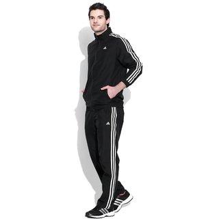 Adidas Men's Black Polyester Essentials Zipper Tracksuit