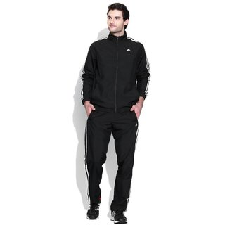 Adidas Black Polyester Essentials Zipper Tracksuit