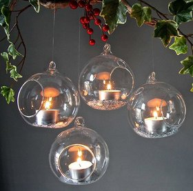MAGICMOON HANGING PLANTER CRYSTAL GLASS , TEA LIGHT CANDLE HOLDER FOR HOME  INDOOR GARDEN - SET OF 1 PIECE, TRANSPARENT
