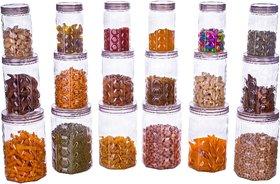 Kitchen Storage Jars  Container Transparent Storage container Set BPA Free (350 ml x 6, 750 ml x 6, 1400 ml x 6) (Grey