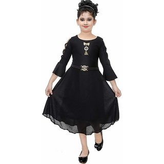Black Solid Party Wear Frock For Girls