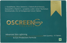 O SCREEN GOLD TABLETS ( 1 strip of 10 Tablets)  Advanced Skin Lightning and Sun Protection Formula