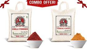 Pure Turmeric  Chilli Powder Combo (Haldi  Laal Mirchi) 1Kg each