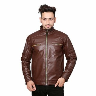 Alpha Men's Brown Faux Slim Fit Leather Jacket