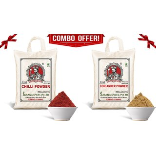 Pure Chilli - Coriander Powder Combo (Laal Mirchi - Dhaniya) 500g each