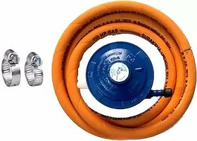 MYM LPG Gas Regulator Suitable for HP Gas Cylinders Pipe and 2 Fitting Clamps