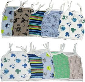Just Born Babies Top wear Shirts with Knot for 0-3 Months Boy/Girls(Multi color, Pack of 10)