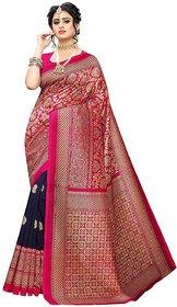 SVB Saree Dark Blue  Pink woven Art Silk Saree
