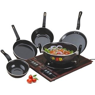 Pack of 5 Mapon Black Hard Anodized Non Stick Cookware Sets