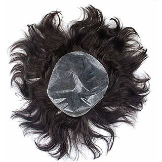 Elegant Hairs Men Patch Wigs Toupee With Glue Hair Dryer And 3 Wig Clips Black Back Lace Toupee For Men(Black,Size 8  5)
